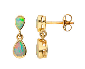 9ct Yellow Gold 0.65ct Opal Drop Earrings