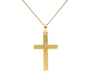 9ct Yellow Gold Starburst Cross Pendant