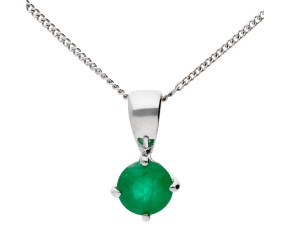 9ct white Gold 0.70ct Emerald Solitaire Pendant