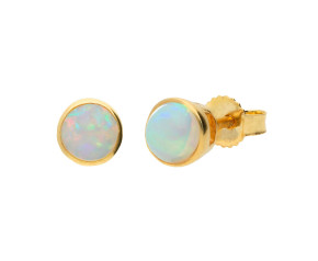 9ct Yellow Gold 0.65ct Round Opal Solitaire Stud Earrings