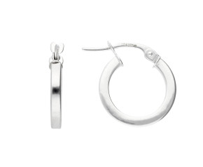 9ct White Gold 1.9cm Square Edged Hoop Earrings