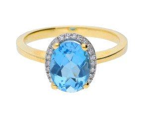 9ct Yellow Gold 2.50ct Topaz & 0.10ct Diamond Cluster Ring