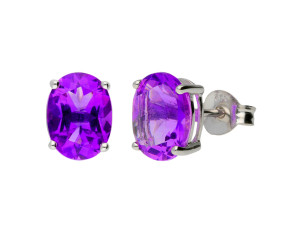 9ct White Gold 2.00ct Oval Amethyst Solitaire Stud Earrings