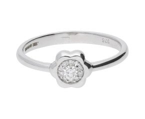 9ct White Gold 0.10ct Diamond Floral Cluster Ring