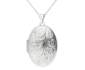 Sterling Silver 2.50cm Classic Oval Patterned Locket