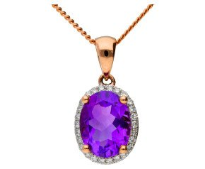 9ct Rose Gold 1.75ct Amethyst & Diamond Cluster Pendant
