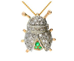 Handcrafted Italian 0.20ct Diamond & Emerald Bug Brooch