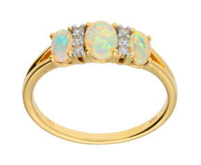 18ct Yellow Gold Opal & Diamond Dress Ring