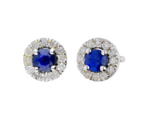 9ct White Gold 0.30ct Sapphire & 030ct Diamond Cluster Stud Earrings