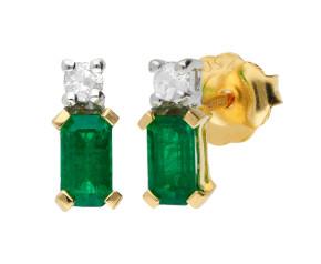 18ct Yellow & White Gold 5mm Emerald & Diamond Rectangular Shape Stud Earrings