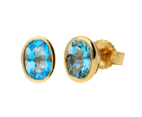 9ct Gold 0.80ct Oval Aquamarine Solitaire Stud Earrings