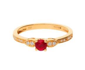 18ct Yellow Gold 0.35ct Ruby & 0.07 Diamond Dress Ring