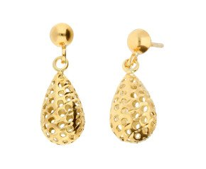 9ct Yellow Gold Pierced Drop Earrings