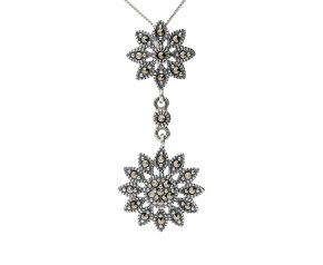 Sterling Silver Marcasite Double Flower Drop Pendant