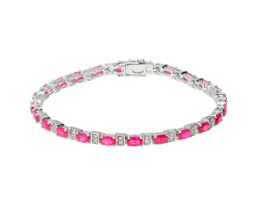18ct White Gold 7.50ct Ruby & 0.30ct Diamond Bracelet