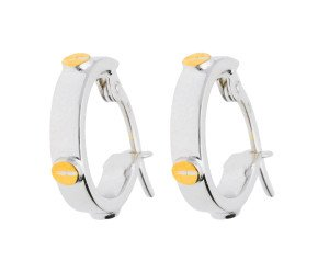 9ct White Gold White Screw Hoop Earrings
