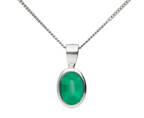 9ct White Gold 7mm Emerald Solitaire Oval Shape Pendant