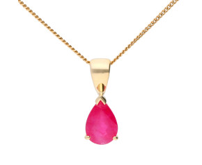 9ct Yellow Gold 7mm Ruby Solitaire Pear Shape Pendant