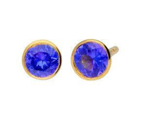 9ct Yellow Gold 0.50ct Tanzanite Solitare Stud Earrings