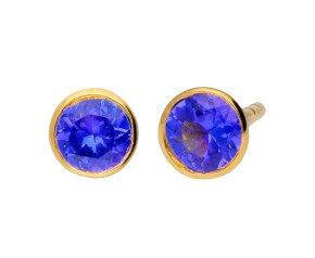 9ct Yellow Gold 0.50ct Tanzanite Solitare Stud Earrings