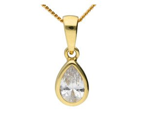 9ct Yellow Gold 0.65ct Pear Cubic Zirconia Solitaire Pendant