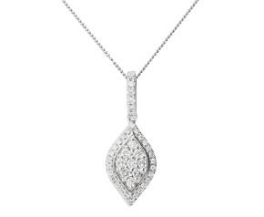 18ct White Gold 0.33ct Diamond Tear drop Pendant
