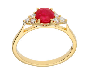 18ct Yellow Gold Ruby & Diamond Treffle Cluster Dress Ring
