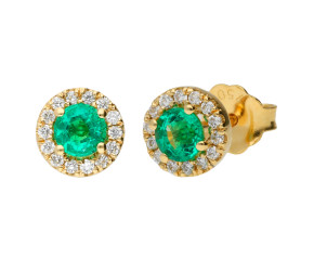18ct Yellow Gold Emerald & Diamond Halo Cluster Stud Earrings