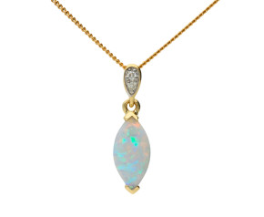 9ct Yellow Gold Navette Cut Opal & Diamond Pendant