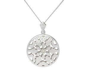 Sterling Silver & Diamond Milgraine Open Work Pendant