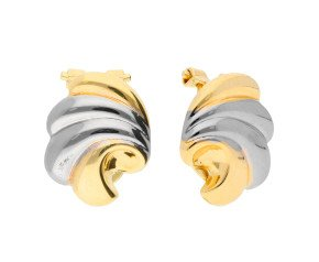 9ct Yellow & White Gold Shell Clip On Earrings