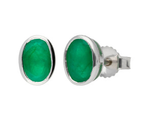 9ct White Gold 6mm Emerald Solitaire Oval Shape Stud Earrings