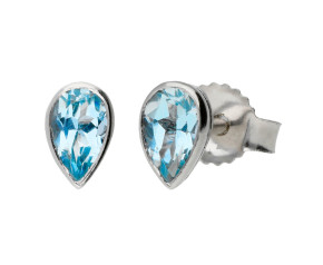 9ct White Gold 0.40ct Pear Aquamarine Stud Earrings