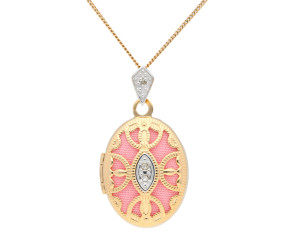 9ct Yellow Gold Small Intricate Oval & Diamond Locket