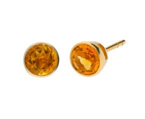 9ct Yellow Gold 0.80ct Round Citrine Solitaire Stud Earrings