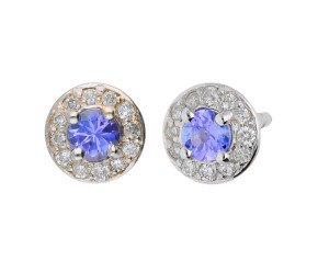 9ct White Gold 0.18ct Tanzanite & 0.12ct Diamond Cluster Earrings