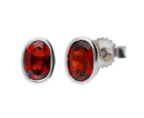 9ct White Gold 0.80ct Oval Garnet Rub Over Solitaire Stud Earrings