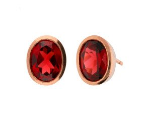 9ct Rose Gold Oval 2.10ct Garnet Solitaire Earrings