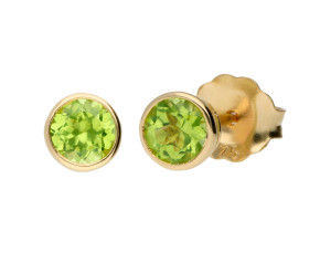 9ct Yellow Gold 4mm Peridot Solitaire Round Shape Stud Earrings