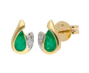 9ct Yellow Gold Emerald & Diamond Curl Stud Earrings