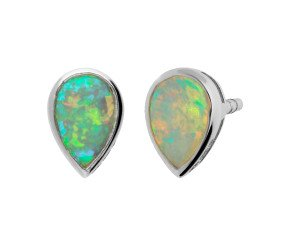 9ct White Gold Pear Opal Solitaire Stud Earrings