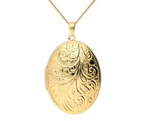 9ct Yellow Gold Large 3.50cm Oval Locket