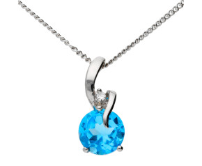 9ct White Gold Topaz & Diamond Pendant