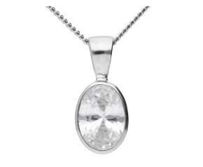 9ct White Gold 1.30ct Oval Cubic Zirconia Solitaire Pendant