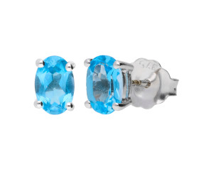 9ct White 1.90ct Oval Swiss Blue Topaz Solitaire Stud Earrings