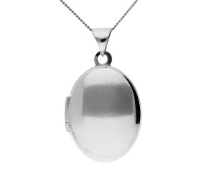 Sterling Silver Small Plain Oval Locket