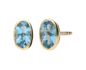 9ct Yellow Gold 0.30ct Oval Aquamarine Stud Solitaire Earrings