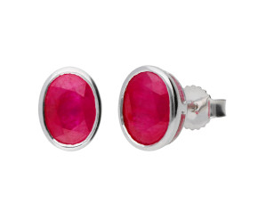 9ct White Gold 1.90ct Oval Ruby Solitaire Stud Earrings