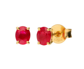 18ct Yellow Gold 5mm Ruby Solitaire Oval Shape Stud Earrings