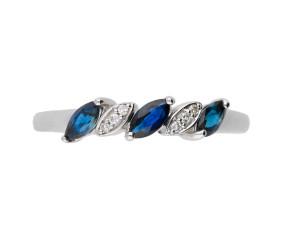 9ct White Gold 0.30ct Sapphire & 0.05ct Diamond Dress Ring